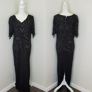 VTG 100% silk beaded formal floor length dress